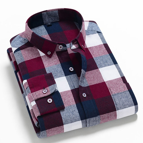 Men's Fashion Long Sleeve Brushed Flannel Shirt Single Patch Pocket Comfortable