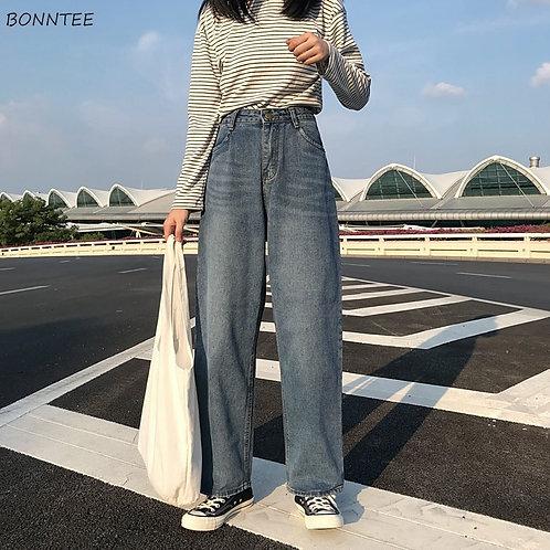 Jeans Women High Waist Loose 2020 Chic Womens Retro Soft Ladies