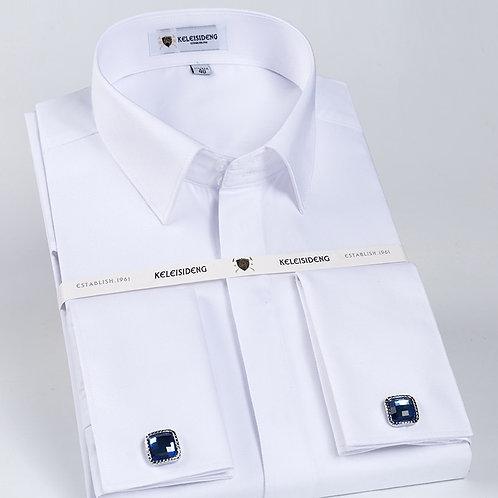 Men's Classic French Cuff Hidden Button Dress Shirt Long-Sleeve Formal Business