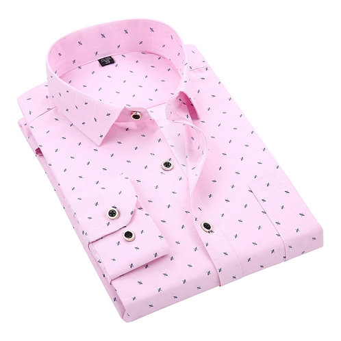 Men Shirt 100% Polyester Long Sleeved Floral Printing Plaid Casual Male Shirts