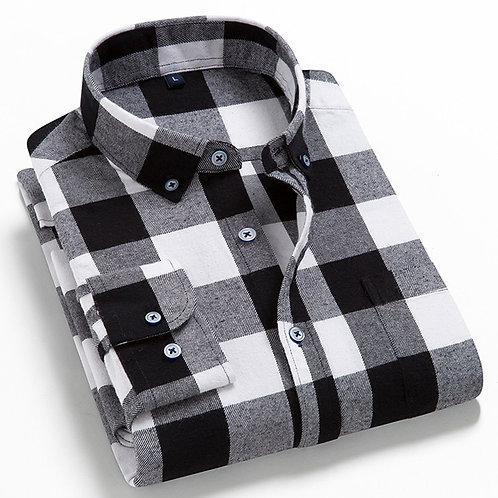 2021 Men Flannel Cotton Plaid Casual Shirt, Spring Autumn Male Social Shirt,