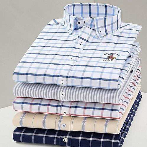 2020 New Arrival Men Shirt Oxford High Quality  Cotton Shirt Male Long Sleeve
