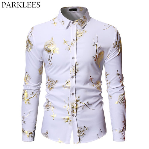 Mens Gold Rose Floral Print Shirts 2019 Brand Floral Steampunk Chemise White