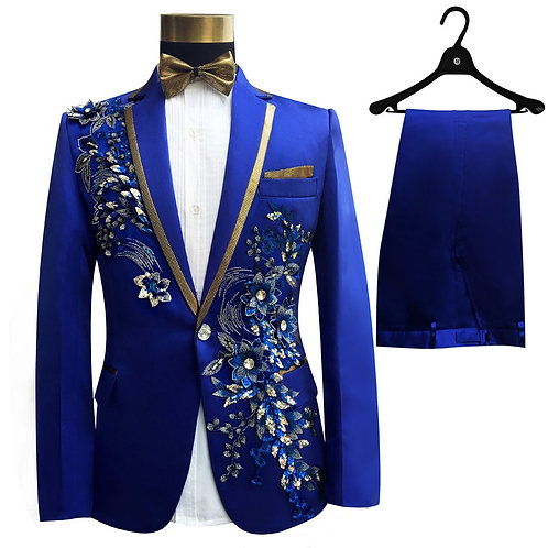 Three Pieces Set Suits Men's Singers Perform Stage Show Sequins Embroidered