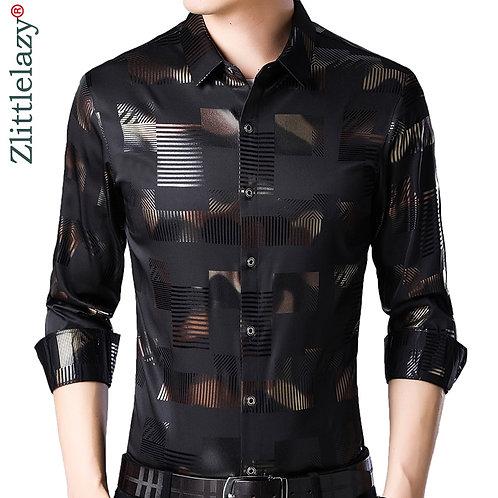 2021 Brand Casual Spring Luxury Plaid Long Sleeve Slim Fit Men Shirt Streetwear