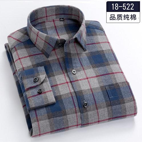 Plus-Size 5XL 6XL 7XL 8XL 100% Cotton Plaid Fannel Thick Long Sleeve Men Shirt