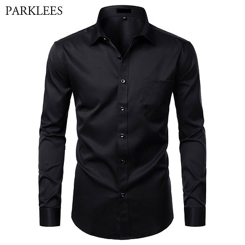 Shirts Solid Color Elastic Button Up Social Male Shirts With Pocket 4XL