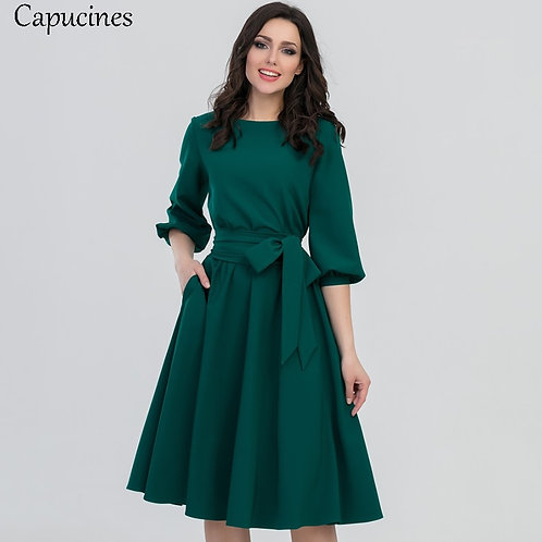 2020 Autumn Vintage Soild Lantern Sleeve A-Line Dress Women Elegant O-Neck Half