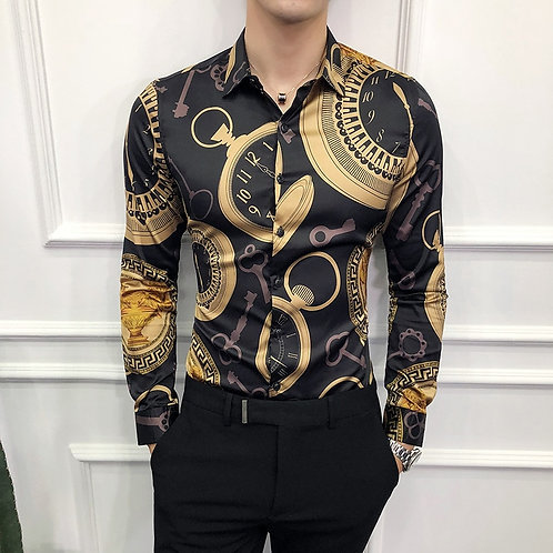 Gold Dress Shirts Male Slim Fit Print Social 2020 Spring Luxury Fashions 6xl
