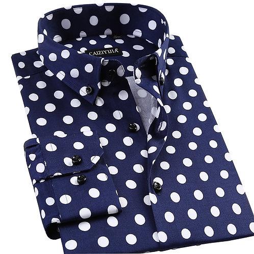 Men's Polka Dot Printing Long Sleeve Shirt Fashion Male Dress Shirt