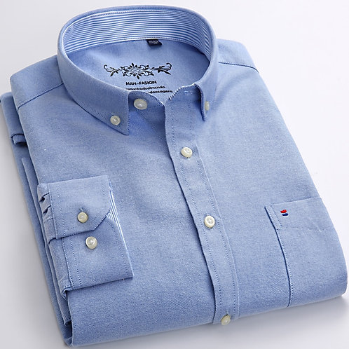 Men's Long Sleeve Oxford Plaid Striped Casual Shirt Front Patch Chest Pocket