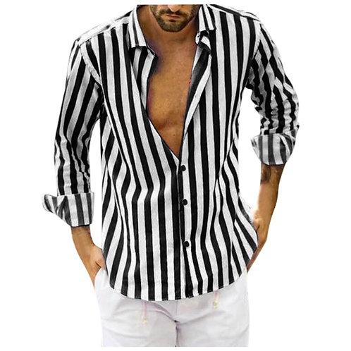 KANCOOLD Men Fashion Shirts Vertical Striped Shirt  Slim Fit Long Sleeve Casual