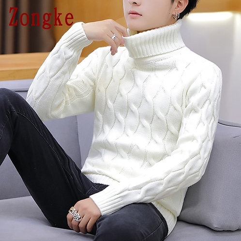 White Turtleneck Men Clothes Winter Sweater Men Coats Solid Striped Pullover