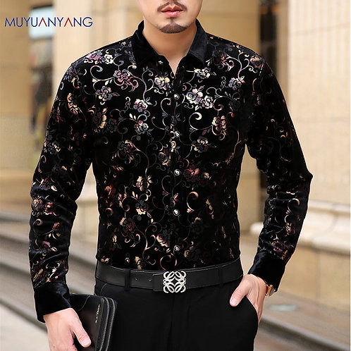 Mu Yuan Yang 2020 Men Fashion Flannel Shirts Formal Long Sleeve Black Shirt