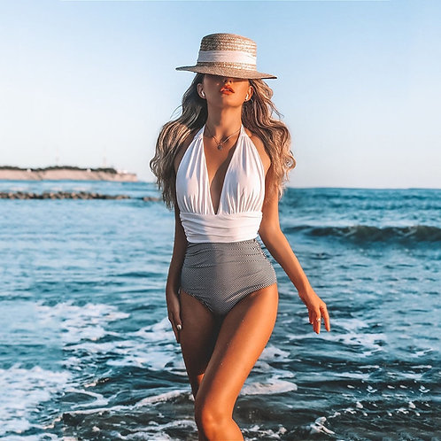 New Sexy One Piece Swimsuit Women 2021 Push Up Swimwear Women Striped Swimwear