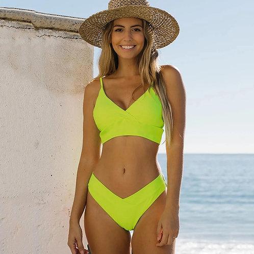 2021 New Arrival Two Piece Swimwear Summer Women Bikini Sexy  Solid  Push Up