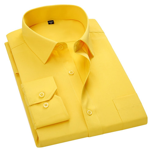 Men's Long Sleeve Slim Fit Dress Casual Shirt White Blue Red Yellow Male Social
