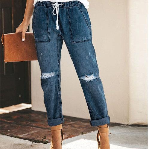 Vintage Ladies Boyfriend Jeans for Women Plus Size XXL High Waist Slim Denim