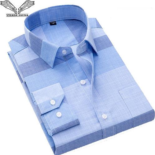 2019 New VISADA JAUNA Fashion Casual Men Shirt Slim Fit Long Sleeve Male Shirt
