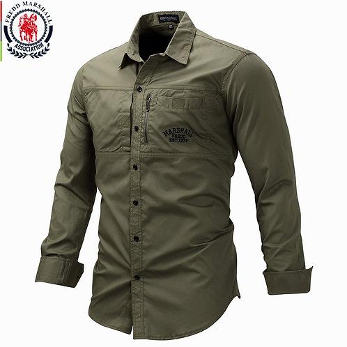 Fredd Marshall 2019 Fashion Military Shirt Long Sleeve Multi-Pocket Casual Shirt