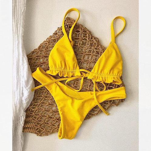 Mini Yellow High Waist Bikinis Mujer Micro Bikini Thong