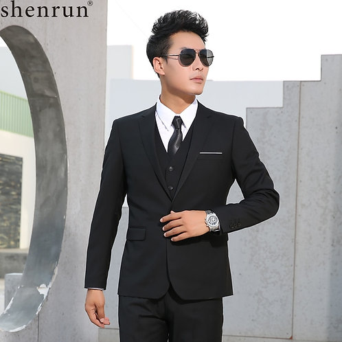 Shenrun Men Suits Slim Business Formal Casual Classic Suit Wedding Groom Party