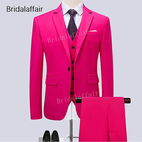 Wonderful Mens Suits for Wedding Prom Groom Tuxedos Formal Solid Hot Pink Men