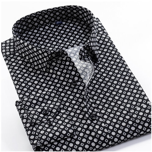 Floral Print Long Sleeves Men's Business Casual Dress Fashion Classic Shirt