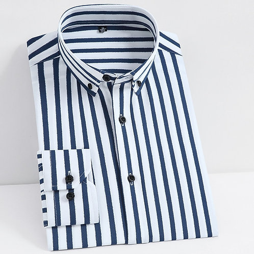 Men's Classic Non-Iron Stretch Striped Basic Dress Shirt Single Patch Pocket