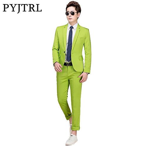 PYJTRL M-5xl Tide Men Colorful Fashion Wedding Suits Plus Size