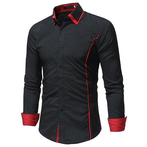 2019 Fashion Brand Long Sleeve Shirt Men Korean  Dress Shirt Plus Size Black