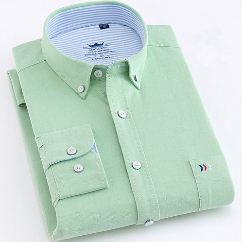 High Quality Man Shirts Cotton Long Sleeve Solid Color Luxury Men's Vocational