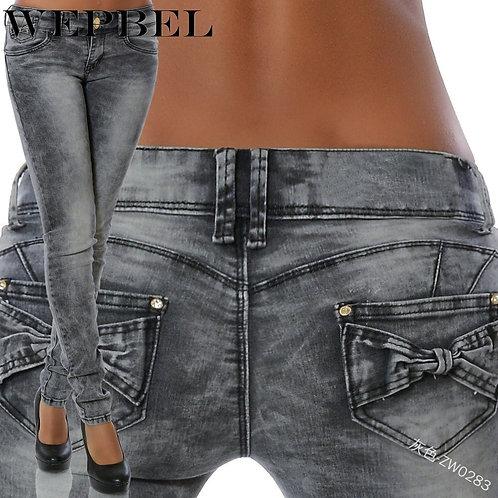 Autumn Fashion Mid-Waist Slim Fit Bow Pocket Denim Pencil Pants
