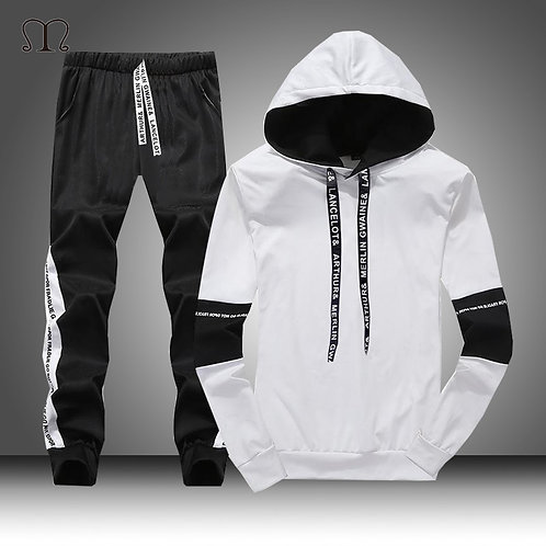 White Black Men Hoodies Set Fashion 2020 Autumn Brand Casual Tracksuit Men Set