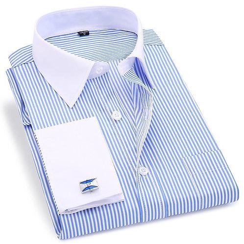 High Quality Striped Men French Cufflinks Casual Dress Shirts Long