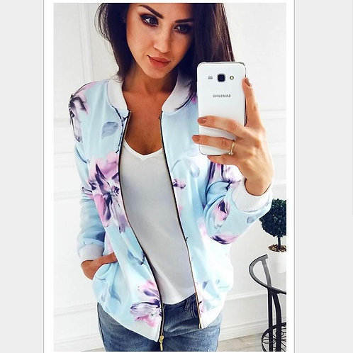 2020 Autumn New Plus Size Printed Bomber Jacket Women Pockets Zipper