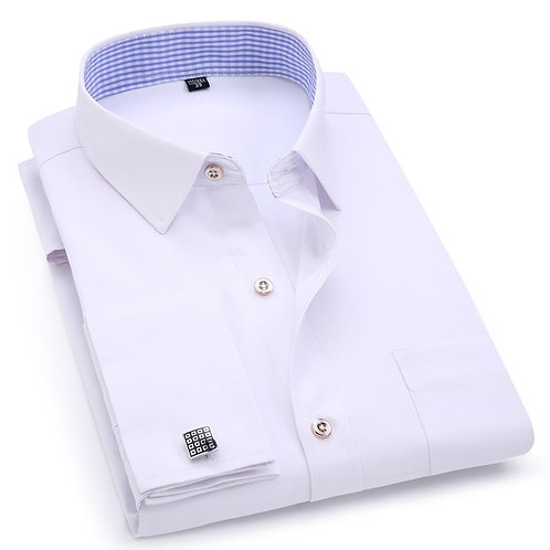 Men's Dress Shirts French Cuff Blue White Long Sleeved Business Casual