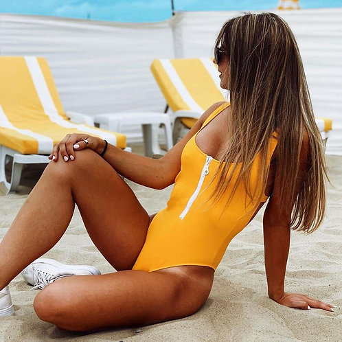 Solid One Piece Swimsuit 2020 Women New Swimsuits Backless