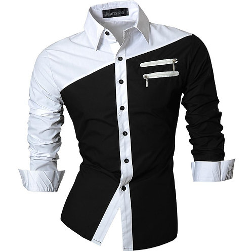 Jeansian Spring Autumn Features Shirts Men Casual Long