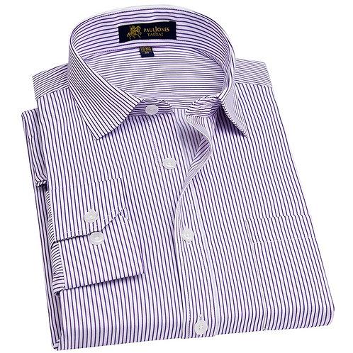 Men's Long Sleeve Regular-Fit Dress Shirt With Chest Pocket Plus Size Pinstripe