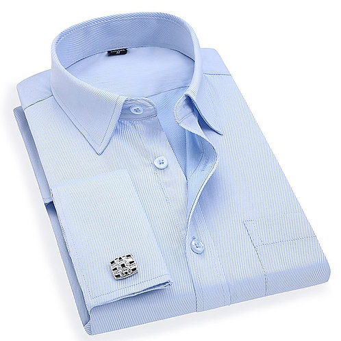Men 'S French Cufflinks Business Dress Shirts Long Sleeves White Blue Twill