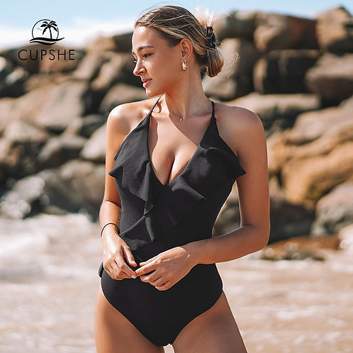 CUPSHE Happy Ending Yellow Solid One-Piece Swimsuit