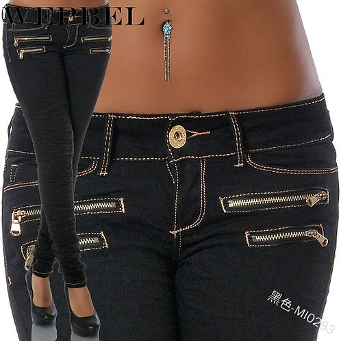 Womens Long Denim Jeans Pants Sexy Slim  Skinny Double Zippers Stretch Jeans