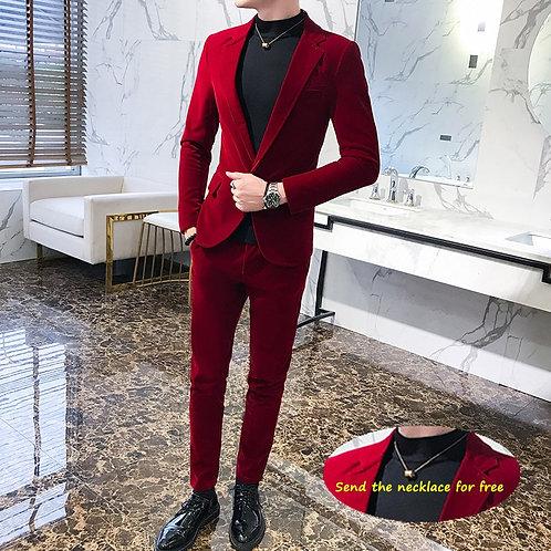 Elegant Wine Red Suits Mens Velvet Luxury Suits for Mens Groom Wedding Velour