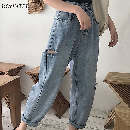 Jeans Women Hole Loose Korean Style All-Match Simple Slim Straight