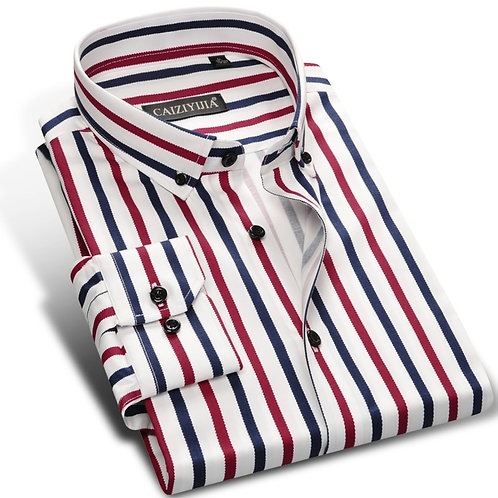 Holiday Casual Multi Color Vertical Stripes Shirts Pocket-Less Design Long