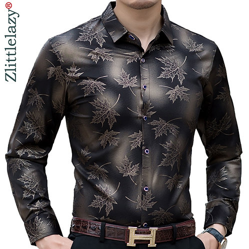 2021 New Social Long Sleeve Maple Leaf Designer Shirts Men Slim Fit Vintage