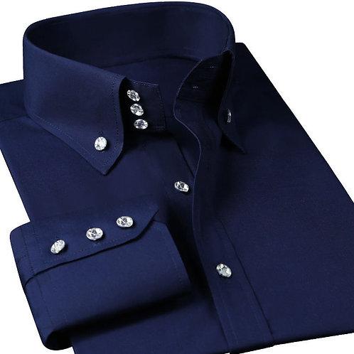 Casual Men's Dress Shirt Long Sleeve Luxury Button Up Silk Cotton Shirt Slim