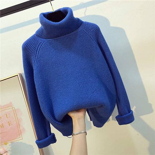 Autumn Winter White Knitted Sweaters Women 2021 Korean Warm Turtleneck