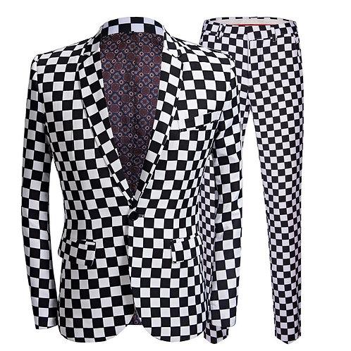 PYJTRL Fashion Suit Men Black White Plaid Print 2 Pieces